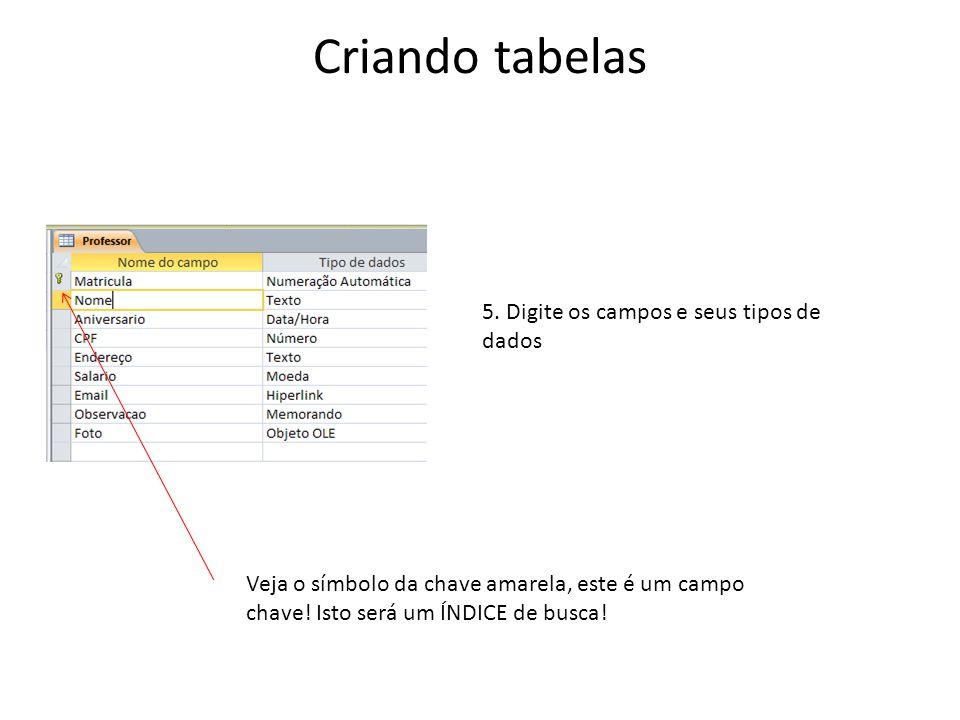 Criando tabelas 5. Digite os campos e seus tipos de dados Veja o símbolo da chave amarela, este é um campo chave! Isto será um ÍNDICE de busca!
