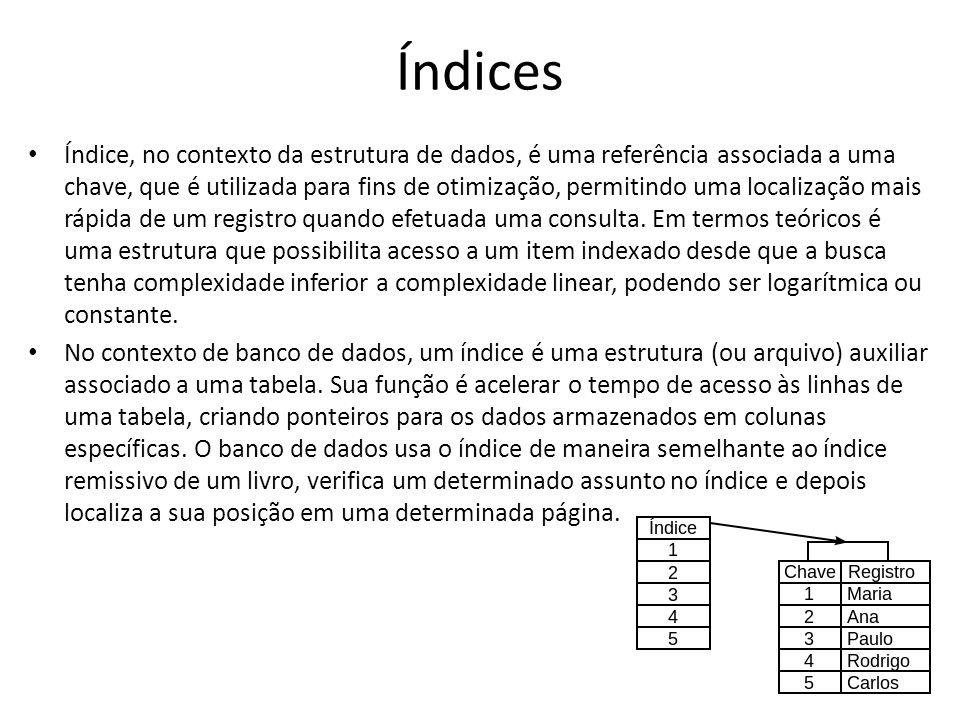 Índices Índice, no contexto da estrutura de dados, é uma referência associada a uma chave, que é utilizada para fins de otimização, permitindo uma loc