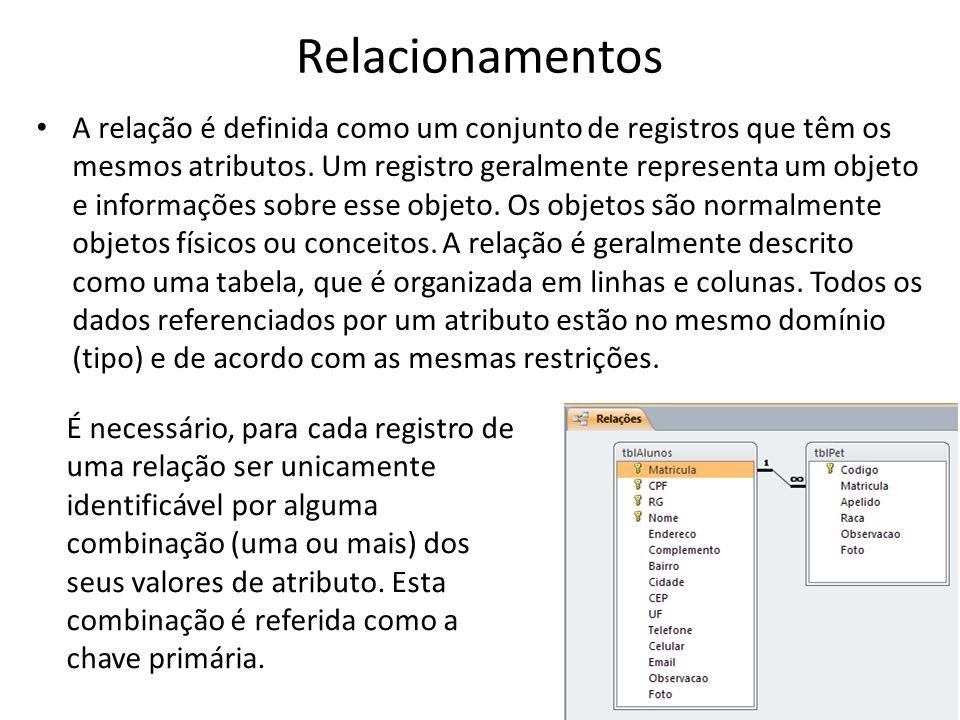 Relacionamentos A relação é definida como um conjunto de registros que têm os mesmos atributos. Um registro geralmente representa um objeto e informaç