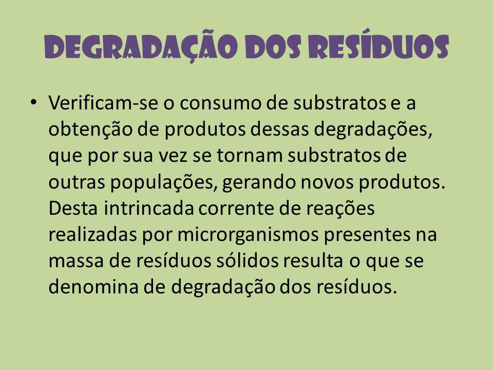 Degradação dos resíduos Verificam-se o consumo de substratos e a obtenção de produtos dessas degradações, que por sua vez se tornam substratos de outr