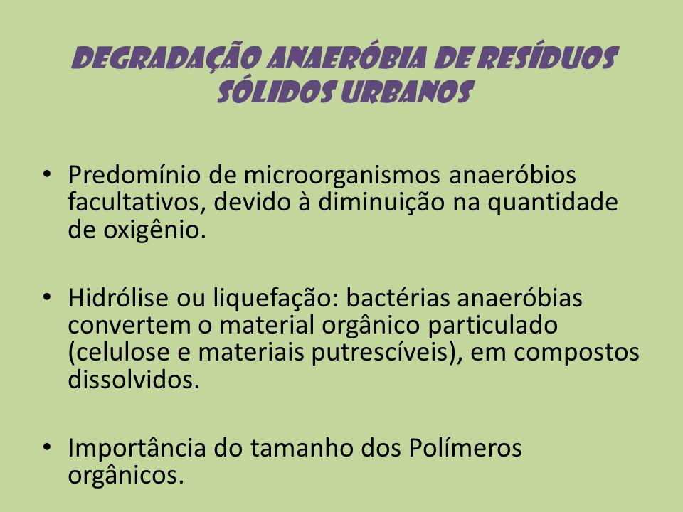 Degradação anaeróbia de resíduos sólidos urbanos Predomínio de microorganismos anaeróbios facultativos, devido à diminuição na quantidade de oxigênio.
