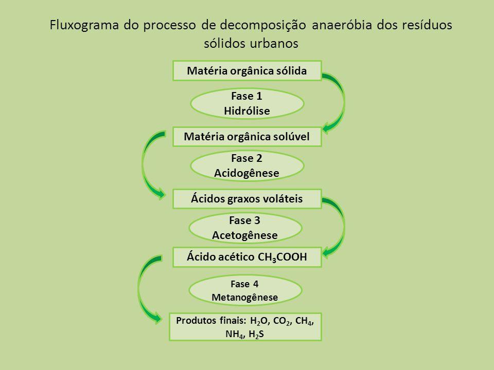 Fluxograma do processo de decomposição anaeróbia dos resíduos sólidos urbanos Matéria orgânica sólida Matéria orgânica solúvel Ácidos graxos voláteis