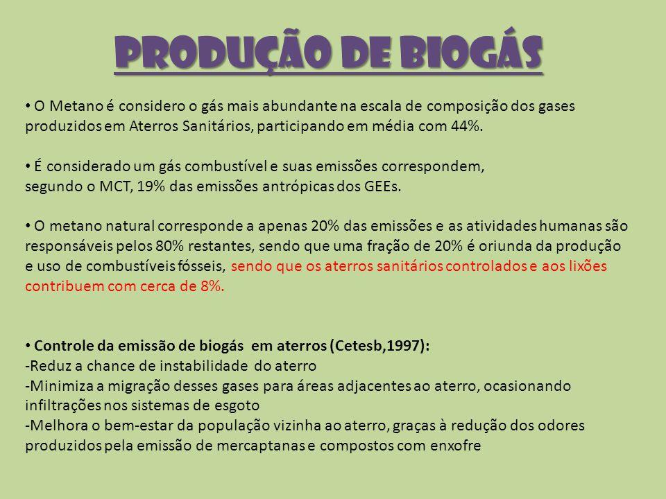 Produção de Biogás O Metano é considero o gás mais abundante na escala de composição dos gases produzidos em Aterros Sanitários, participando em média