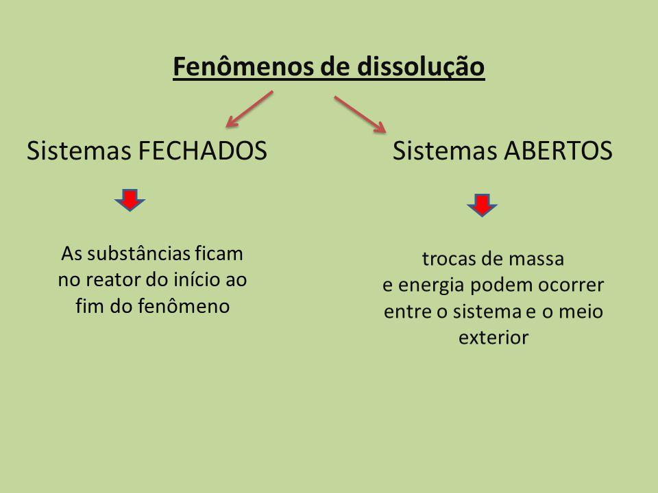 Fenômenos de dissolução Sistemas FECHADOS Sistemas ABERTOS trocas de massa e energia podem ocorrer entre o sistema e o meio exterior As substâncias fi