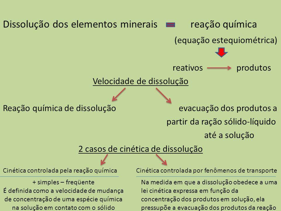 Dissolução dos elementos minerais reação química (equação estequiométrica) reativos produtos Velocidade de dissolução Reação química de dissolução eva