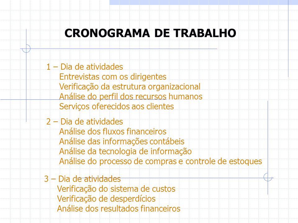 CRONOGRAMA DE TRABALHO 1 – Dia de atividades Entrevistas com os dirigentes Verificação da estrutura organizacional Análise do perfil dos recursos huma