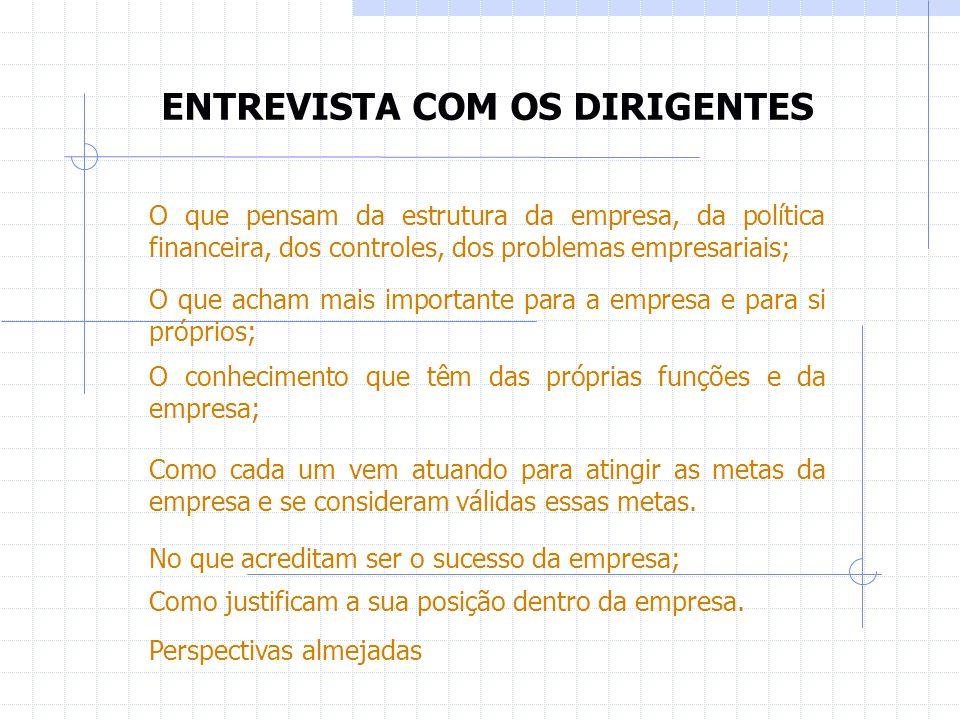 ENTREVISTA COM OS DIRIGENTES O que pensam da estrutura da empresa, da política financeira, dos controles, dos problemas empresariais; O que acham mais