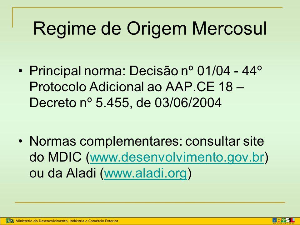 Acordos Firmados na Aladi x Certificados de Origem MODELO RESOLUÇÃO 252: ACE 53 – BR/MEX ACE 55 – MERCOSUL/MEX ACE 58 – MERCOSUL/PERU ACE 62 – MERCOSU