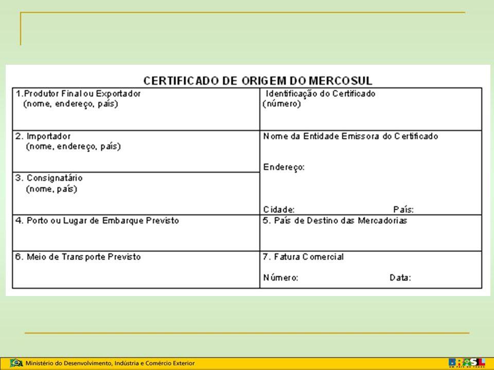 Declaração Juramentada ou Declaração do Produtor Componentes do produto: materiais nacionais; materiais originários de outros Estados Partes, indicand