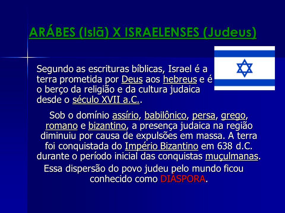 ARÁBES (Islã) X ISRAELENSES (Judeus) Segundo as escrituras bíblicas, Israel é a terra prometida por Deus aos hebreus e é o berço da religião e da cult