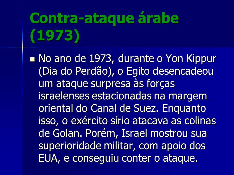 Contra-ataque árabe (1973) No ano de 1973, durante o Yon Kippur (Dia do Perdão), o Egito desencadeou um ataque surpresa às forças israelenses estacion