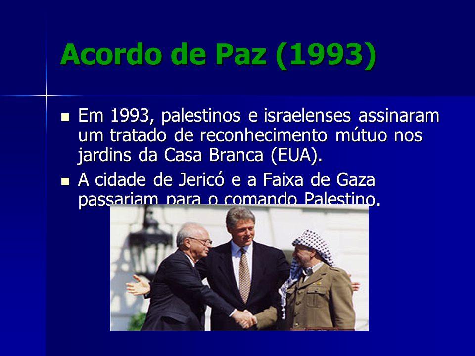 Acordo de Paz (1993) Em 1993, palestinos e israelenses assinaram um tratado de reconhecimento mútuo nos jardins da Casa Branca (EUA). Em 1993, palesti