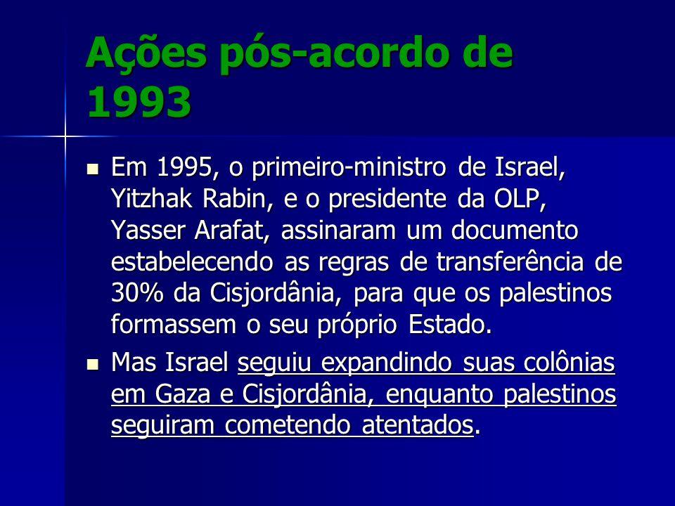 Ações pós-acordo de 1993 Em 1995, o primeiro-ministro de Israel, Yitzhak Rabin, e o presidente da OLP, Yasser Arafat, assinaram um documento estabelec