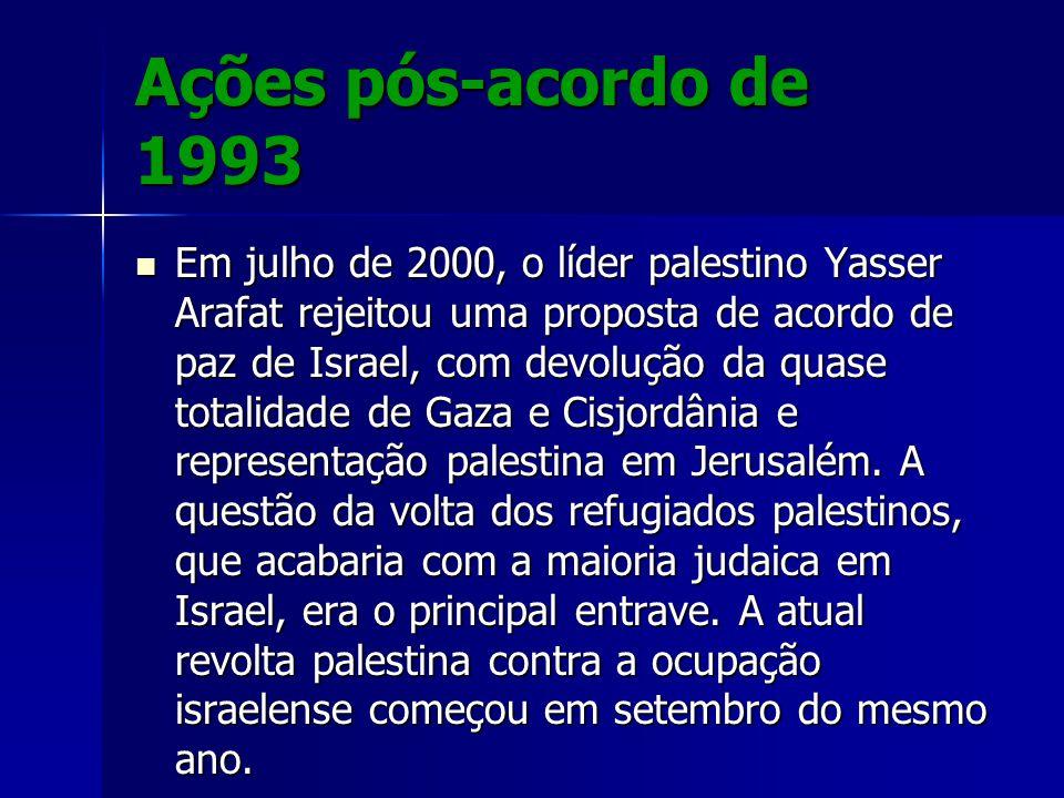 Ações pós-acordo de 1993 Em julho de 2000, o líder palestino Yasser Arafat rejeitou uma proposta de acordo de paz de Israel, com devolução da quase to