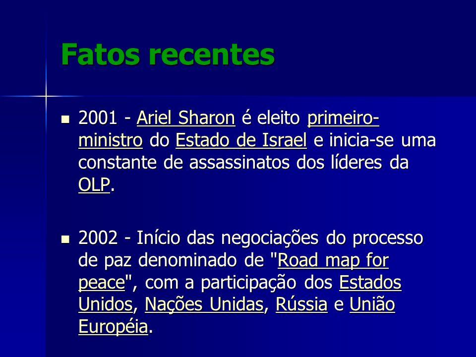 Fatos recentes 2001 - Ariel Sharon é eleito primeiro- ministro do Estado de Israel e inicia-se uma constante de assassinatos dos líderes da OLP. 2001