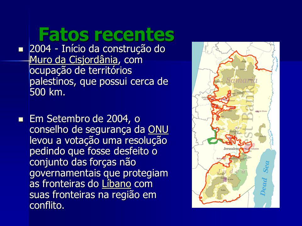Fatos recentes 2004 - Início da construção do Muro da Cisjordânia, com ocupação de territórios palestinos, que possui cerca de 500 km. 2004 - Início d