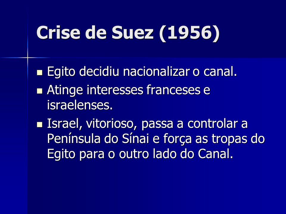 Crise de Suez (1956) Egito decidiu nacionalizar o canal. Egito decidiu nacionalizar o canal. Atinge interesses franceses e israelenses. Atinge interes