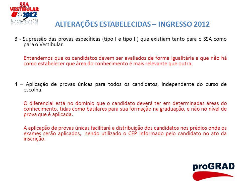 ALTERAÇÕES ESTABELECIDAS – INGRESSO 2012 3 - Supressão das provas específicas (tipo I e tipo II) que existiam tanto para o SSA como para o Vestibular.