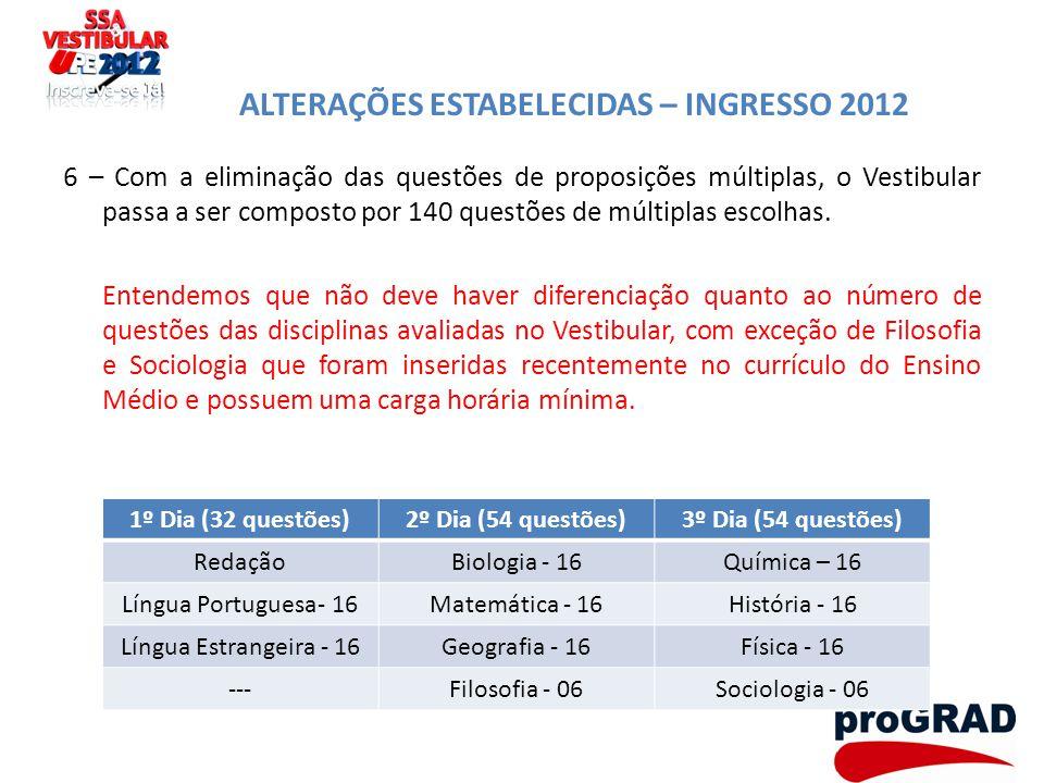 ALTERAÇÕES ESTABELECIDAS – INGRESSO 2012 6 – Com a eliminação das questões de proposições múltiplas, o Vestibular passa a ser composto por 140 questõe