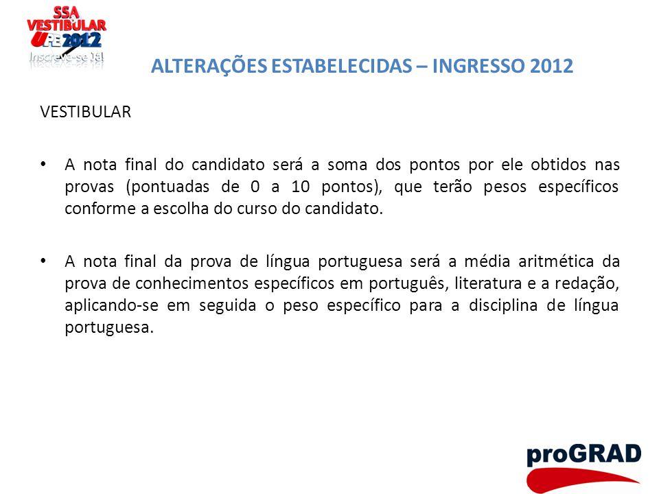 ALTERAÇÕES ESTABELECIDAS – INGRESSO 2012 VESTIBULAR A nota final do candidato será a soma dos pontos por ele obtidos nas provas (pontuadas de 0 a 10 p
