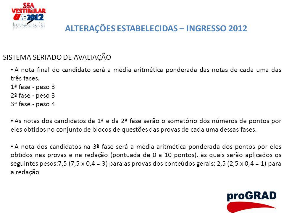 ALTERAÇÕES ESTABELECIDAS – INGRESSO 2012 SISTEMA SERIADO DE AVALIAÇÃO A nota final do candidato será a média aritmética ponderada das notas de cada um