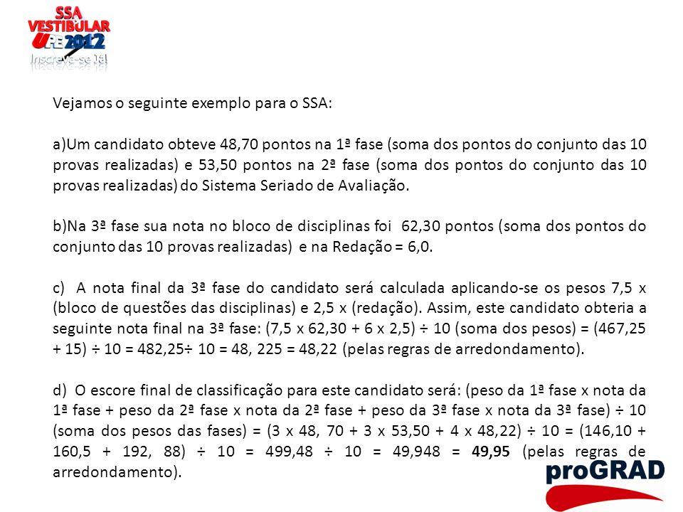 Vejamos o seguinte exemplo para o SSA: a)Um candidato obteve 48,70 pontos na 1ª fase (soma dos pontos do conjunto das 10 provas realizadas) e 53,50 po