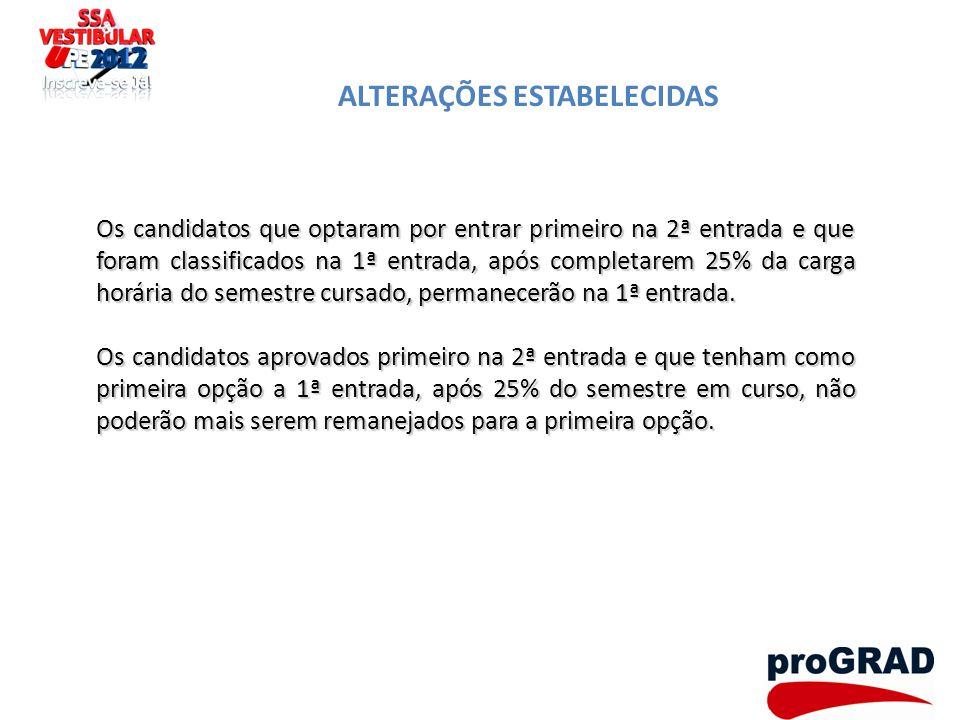 ALTERAÇÕES ESTABELECIDAS Os candidatos que optaram por entrar primeiro na 2ª entrada e que foram classificados na 1ª entrada, após completarem 25% da
