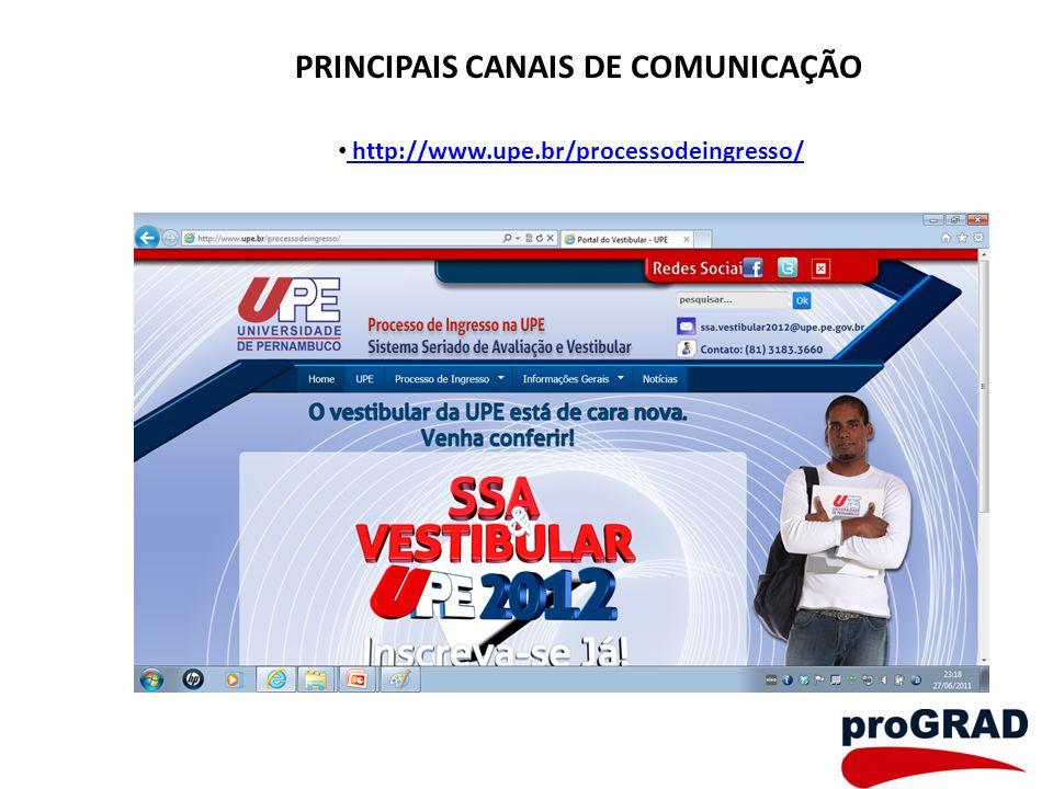 PRINCIPAIS CANAIS DE COMUNICAÇÃO http://www.upe.br/processodeingresso/