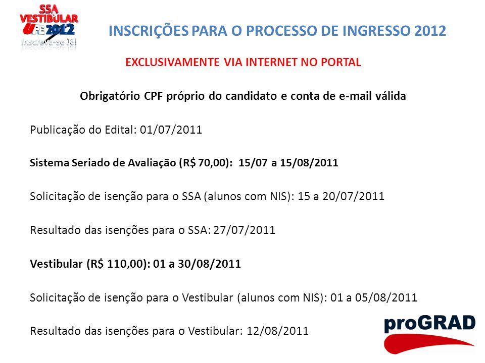 INSCRIÇÕES PARA O PROCESSO DE INGRESSO 2012 EXCLUSIVAMENTE VIA INTERNET NO PORTAL Obrigatório CPF próprio do candidato e conta de e-mail válida Public