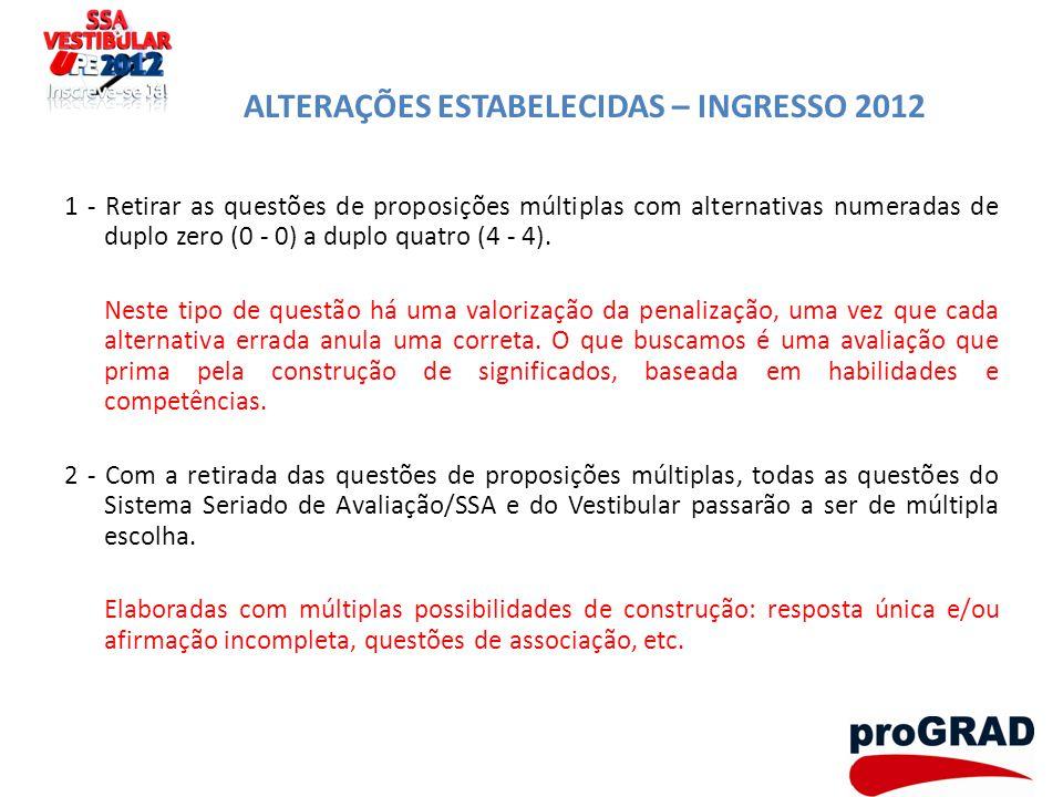 ALTERAÇÕES ESTABELECIDAS – INGRESSO 2012 1 - Retirar as questões de proposições múltiplas com alternativas numeradas de duplo zero (0 - 0) a duplo qua