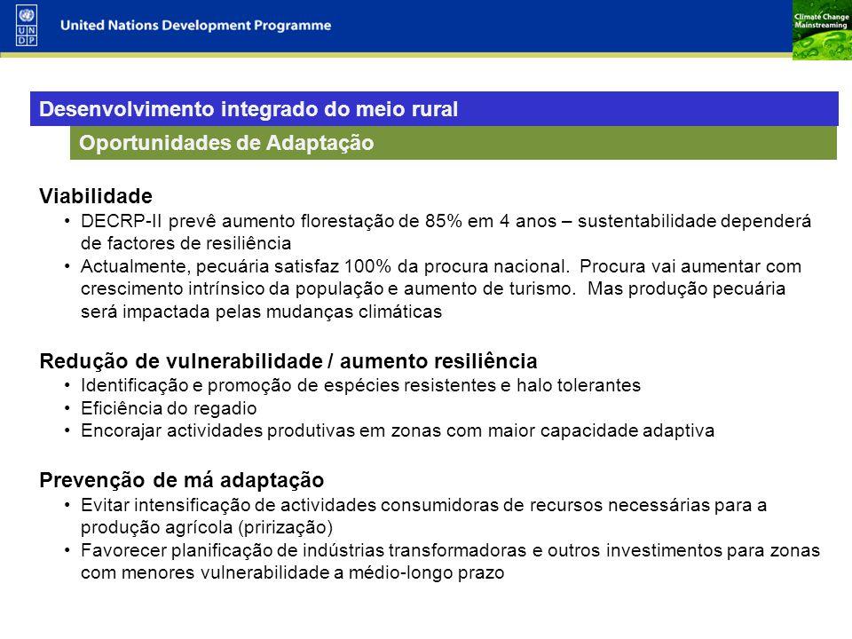 10 Oportunidades de Adaptação Viabilidade DECRP-II prevê aumento florestação de 85% em 4 anos – sustentabilidade dependerá de factores de resiliência Actualmente, pecuária satisfaz 100% da procura nacional.