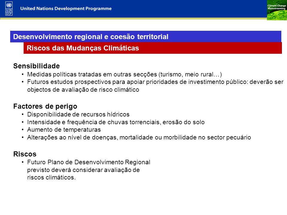 11 Desenvolvimento regional e coesão territorial Riscos das Mudanças Climáticas Sensibilidade Medidas políticas tratadas em outras secções (turismo, m