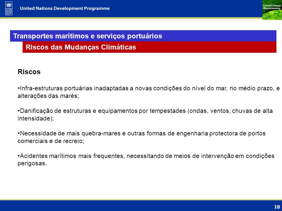 18 Transportes marítimos e serviços portuários Riscos das Mudanças Climáticas Riscos Infra-estruturas portuárias inadaptadas a novas condições do níve