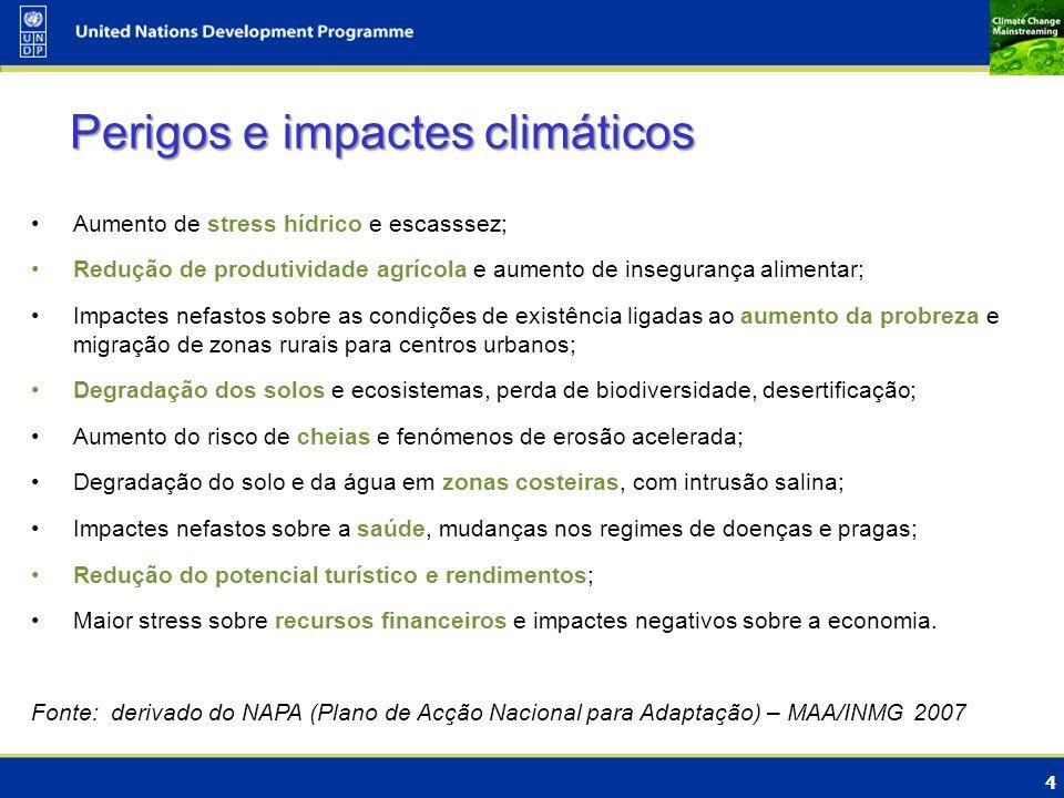 4 Aumento de stress hídrico e escasssez; Redução de produtividade agrícola e aumento de insegurança alimentar; Impactes nefastos sobre as condições de