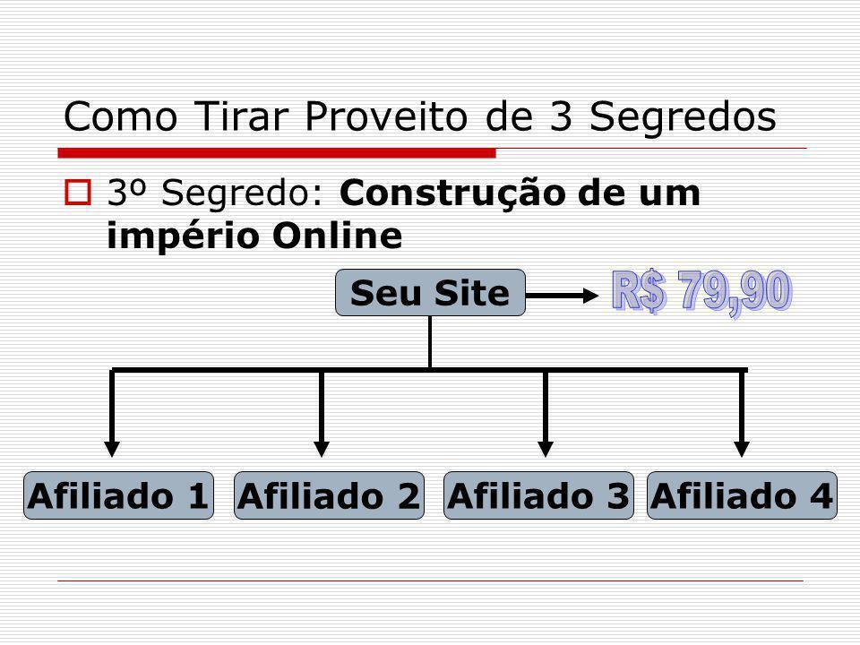 Como Tirar Proveito de 3 Segredos 3º Segredo: Construção de um império Online Seu Site Afiliado 1 Afiliado 2 Afiliado 3Afiliado 4 Seu Botão PG