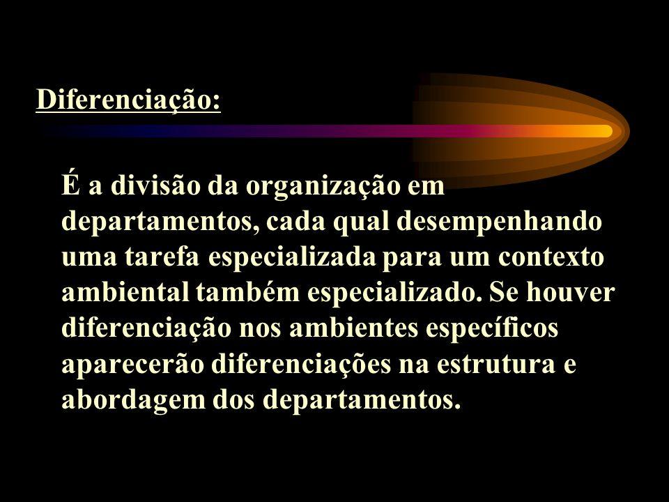 Diferenciação: É a divisão da organização em departamentos, cada qual desempenhando uma tarefa especializada para um contexto ambiental também especia