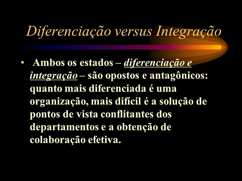 Diferenciação versus Integração Ambos os estados – diferenciação e integração – são opostos e antagônicos: quanto mais diferenciada é uma organização,