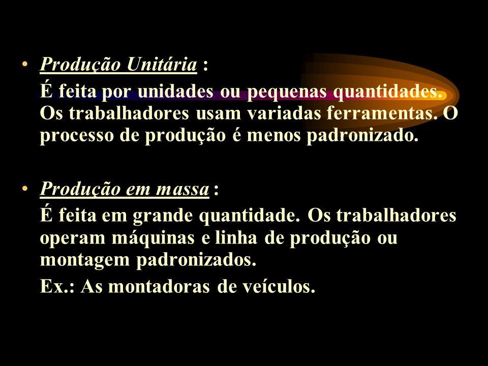Produção Unitária : É feita por unidades ou pequenas quantidades. Os trabalhadores usam variadas ferramentas. O processo de produção é menos padroniza