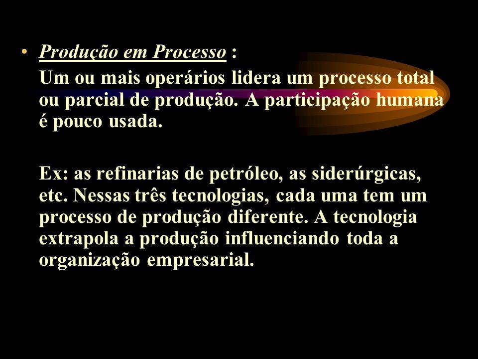 Produção em Processo : Um ou mais operários lidera um processo total ou parcial de produção. A participação humana é pouco usada. Ex: as refinarias de