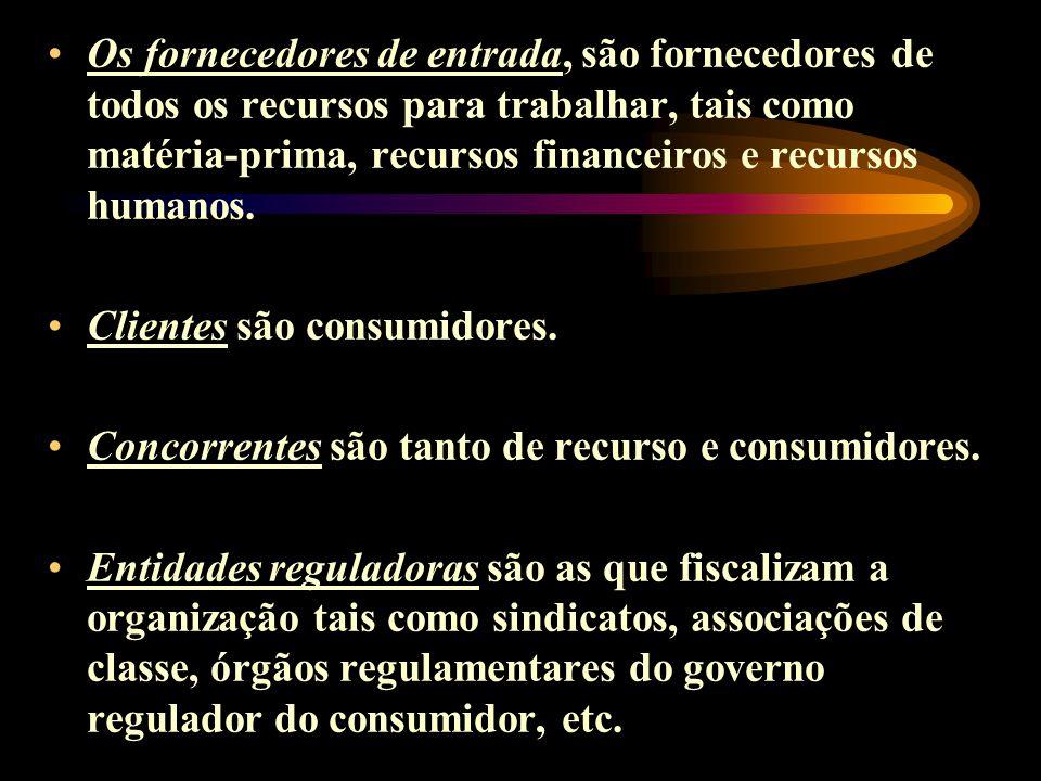 Os fornecedores de entrada, são fornecedores de todos os recursos para trabalhar, tais como matéria-prima, recursos financeiros e recursos humanos. Cl