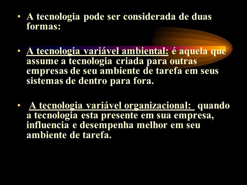 A tecnologia pode ser considerada de duas formas: A tecnologia variável ambiental: é aquela que assume a tecnologia criada para outras empresas de seu