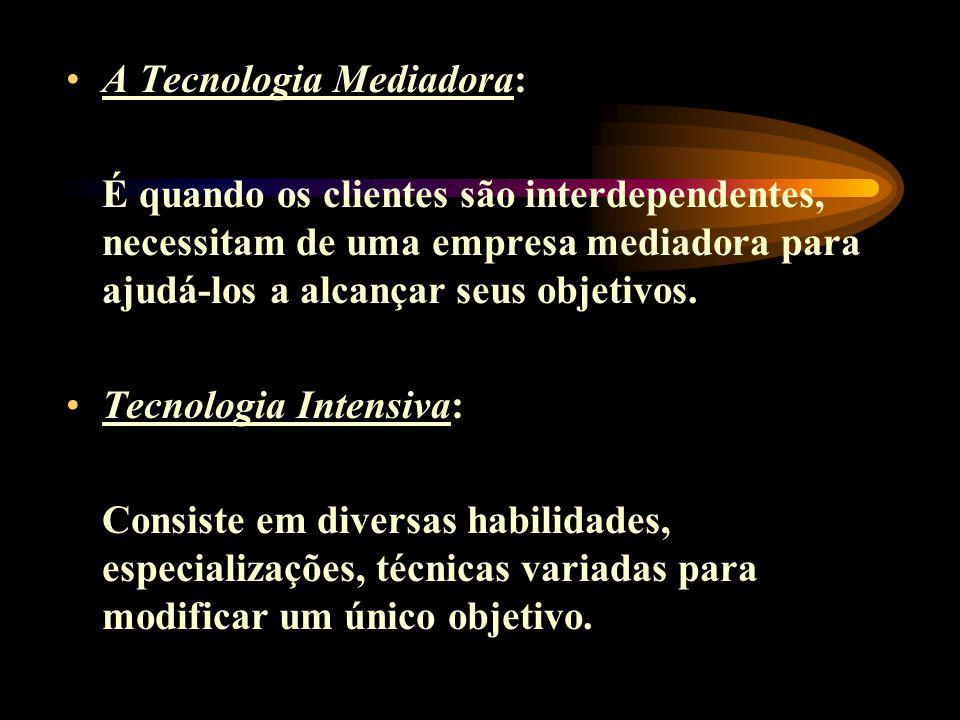 A Tecnologia Mediadora: É quando os clientes são interdependentes, necessitam de uma empresa mediadora para ajudá-los a alcançar seus objetivos. Tecno