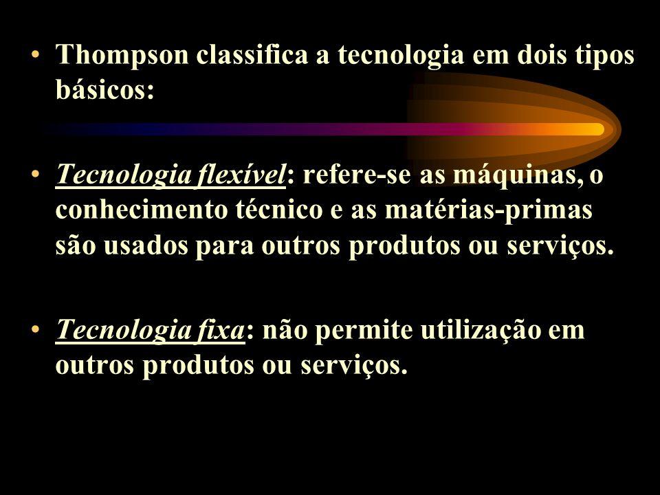 Thompson classifica a tecnologia em dois tipos básicos: Tecnologia flexível: refere-se as máquinas, o conhecimento técnico e as matérias-primas são us