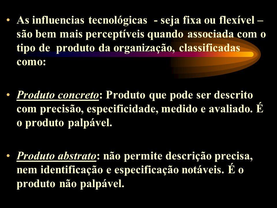 As influencias tecnológicas - seja fixa ou flexível – são bem mais perceptíveis quando associada com o tipo de produto da organização, classificadas c