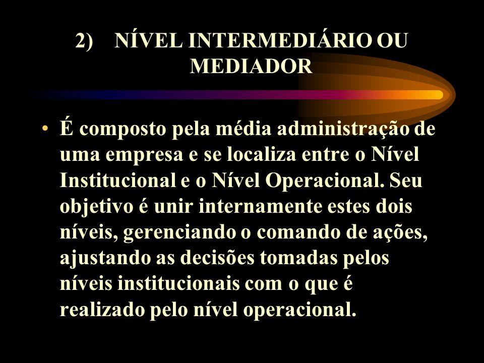 2) NÍVEL INTERMEDIÁRIO OU MEDIADOR É composto pela média administração de uma empresa e se localiza entre o Nível Institucional e o Nível Operacional.
