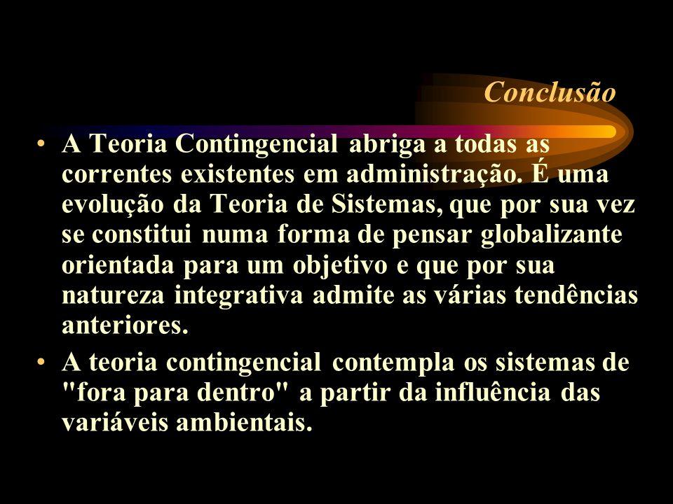 Conclusão A Teoria Contingencial abriga a todas as correntes existentes em administração. É uma evolução da Teoria de Sistemas, que por sua vez se con