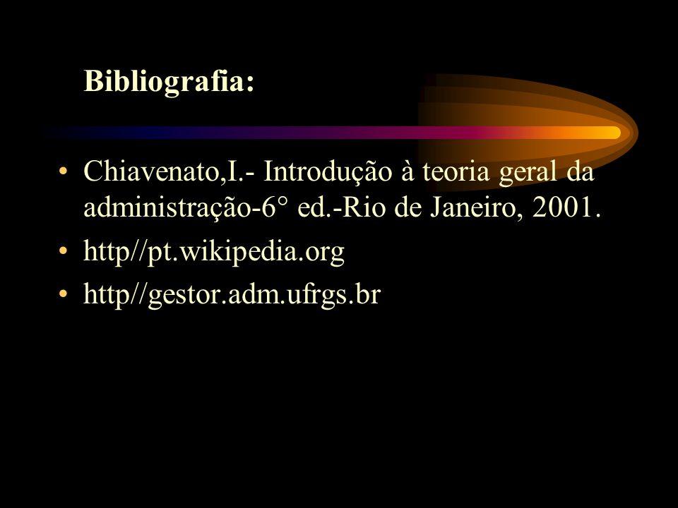 Bibliografia: Chiavenato,I.- Introdução à teoria geral da administração-6° ed.-Rio de Janeiro, 2001. http//pt.wikipedia.org http//gestor.adm.ufrgs.br