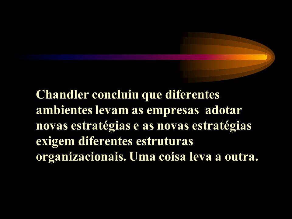 Chandler concluiu que diferentes ambientes levam as empresas adotar novas estratégias e as novas estratégias exigem diferentes estruturas organizacion