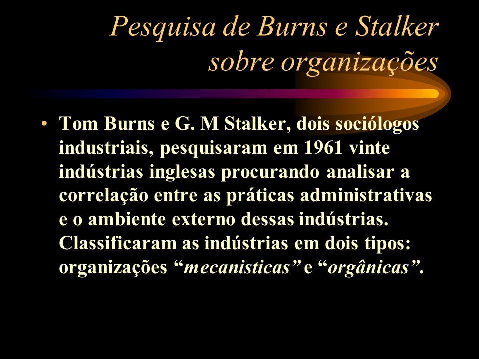 Tom Burns e G. M Stalker, dois sociólogos industriais, pesquisaram em 1961 vinte indústrias inglesas procurando analisar a correlação entre as prática