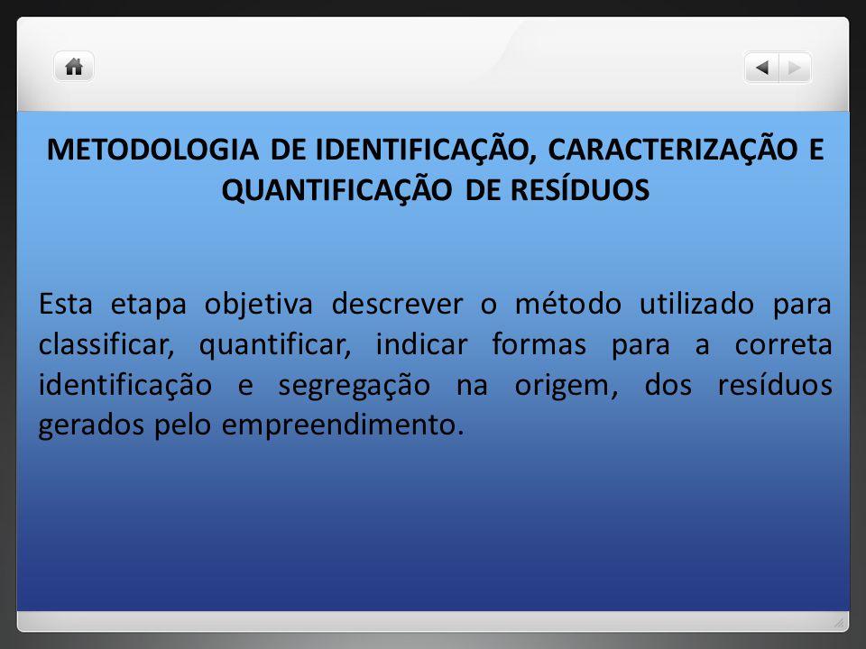 METODOLOGIA DE IDENTIFICAÇÃO, CARACTERIZAÇÃO E QUANTIFICAÇÃO DE RESÍDUOS Esta etapa objetiva descrever o método utilizado para classificar, quantifica
